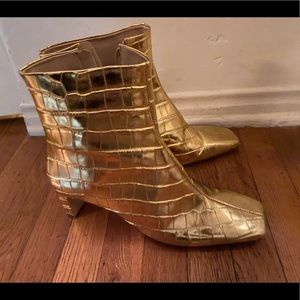 Schutz True Gold Square Toe Snakeskin Boots